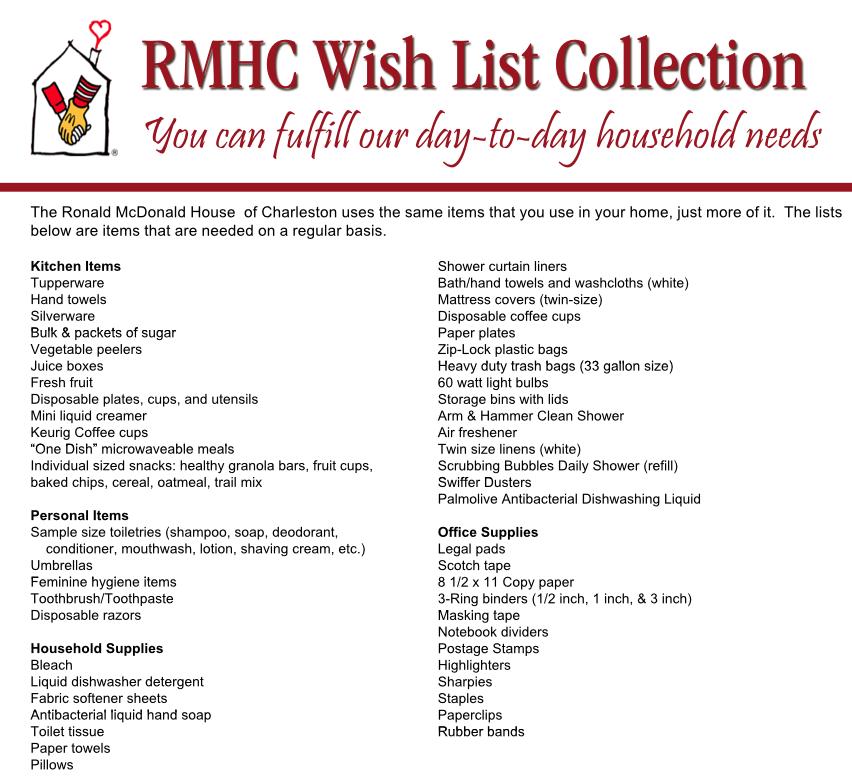 Wish List | Ronald McDonald House | Charleston, SC